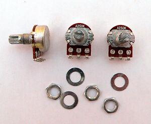 A250K 3 mini pot set Fender Stratocaster/Jazz Bass guitar 250K log potentiometer