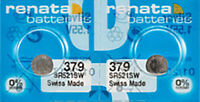 2 x Renata 379 Watch Batteries, 0% MERCURY Equivalent c, Swiss Made