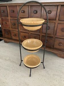 3 Tier Stand Metal Stand With 3 Pottery Pie Shape Dish for veggies, crafts, etc.