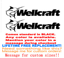 "PAIR OF 8""X28"" WELLCRAFT BOAT HULL DECALS. MARINE GRADE. YOUR COLOR CHOICE 169"