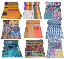 Indian Art Kantha Quilt Twin/Queen Handmade Hand Block Reversible Blanket Throw