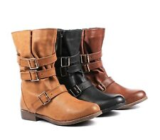 Brown / Black / Camel Zip Open Buckle Fashion Women Mid Calf Boots Size 5.5 - 10