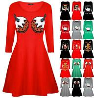 Ladies Womens Dancing Reindeer Santa Costume Hat Christmas Swing Xmas Mini Dress