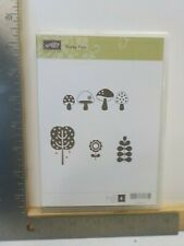 STAMPIN UP FUNKY FOUR TREE MUSHROOMS FLOWER CLING MOUNT STAMP SET EUC A19148