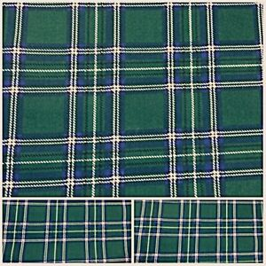 New Remnants Off Cut Fabric Polycotton GREEN TARTAN MATERIAL CHECKED