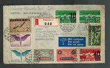 1937 Hotel Lugano Switzerland to Argentina Airmail Cover # C4 C8-C10 C12 C19