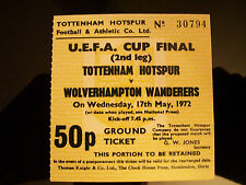 1972 UEFA Cup final ticket 2nd legTottenham Hotspur v Wolves reproduction.