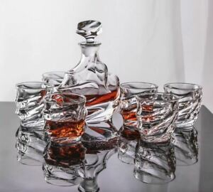 7 Piece High Quality Glass Decanter And Cups Set For Whisky Jin Vodka Rum Brandy