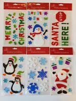 Merry Christmas Gel Clings Window Stickers Decoration Santa Snowman trees