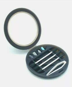 Reusable Cotton Swab Box Set With Mirror (Black) for ears/makeup