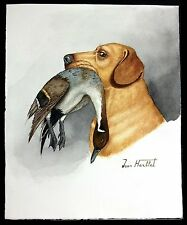 "Jean Herblet, French 17""x 13"" Original Watercolor Yellow Labrador, Pintails II"