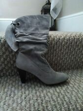 Ladies Boots 3 uk     high heel  slouch faux suede grey