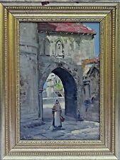 "Gregorio Valdes (American, b.1879) Oil Painting, ""Cuban School, Key West, FL"""