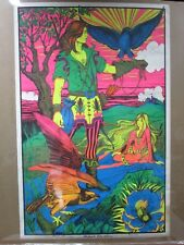 Large Vintage Black Light Poster 1971 Falcon Hunter  Inv#G996