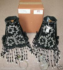NEW HARRODS LAMPSHADE Black Chiffon White Pearls/Beads/Sequins Tassels Art Deco