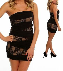 WOMENS CLOTHING SEXY BLACK AND TAN STRAPLESS DRESS WITH RUCHED SIDES