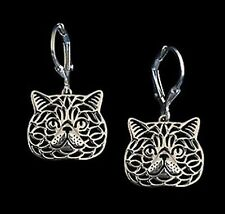 Exotic Shorthair Cat Earrings -Fashion Jewellery - Silver Plated, Leverback hook