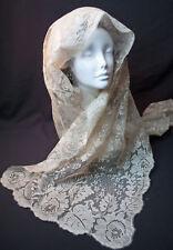 Antique French Alencon Net Lace Mantilla Scarf Scarve