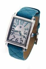 JUDITH RIPKA NIB Turquoise Leather Quilted Stainless Steel Face Ladies Watch