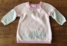 Dylan And Abby Pink Sweater Dress With Elephants 0-3M