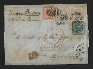 DENMARK TO USA MULTIFRANKED DUE COVER 1863