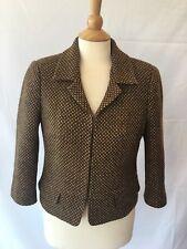 Club Monaco Women's Wool Jacket Size 8 Brown Tweed Blazer Lined