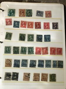 Binder Album full of US stamps, Scott Numbers Listed on side