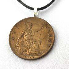 Collier pièce de monnaie Royaume-Uni 1 penny George V 1ère effigie