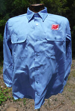 Martin's Blue Button Down Vtg Work Shirt Mens Med US Flag American Freightways