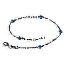 Enhanced Blue Diamond By The Yard Bracelet 0.25 ct 14k Black Gold Vintage Style