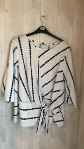 Womens new dress from george size 22 white with blue lines on long sleeves no op