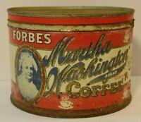 Vintage 1940s MARTHA WASHINGTON GRAPHIC COFFEE TIN ONE POUND ST. LOUIS MISSOURI