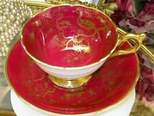 COALPORT - CAIRO BIRDS-  GOLD on RUBY RED Cup & Saucer BUTTERFLY, INSECT, BUGS