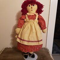 Handmade Country Primitive Raggedy Ann 25 inch Cloth Rag Toy Doll With Yarn Hair