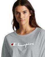 Champion Life Long-Sleeve T-Shirt Tee Womens Original Flocked Script Logo Cotton