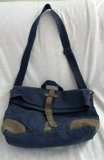 United by Blue Organic Cotton Leather Trim Blue Detachable Strap Messenger Bag