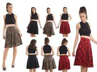 NEW Women's Ladies Plain printed Pleated Waist Band Flared Swing Skater Fashion