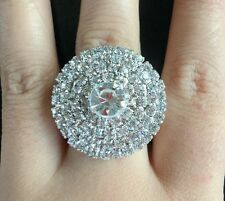 Women's gold Clear full Crystal Rhinestone round Ring Wedding Party Adjustable