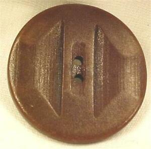 2 Art Deco Buttons Brown Vegetable Ivory Geometric Design Vintage #2