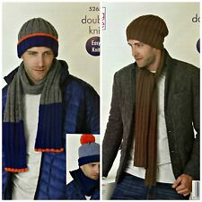 KNITTING PATTERN Mens Easy Knit Rib Beanie Hat Scarf & Cowl DK King Cole 5265