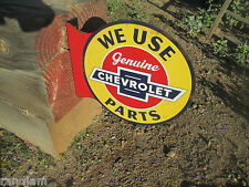 CHEVROLET WE USE GENUINE PARTS  2 SIDED WALL MOUNT HANGING  Metal Disp WAY COOL