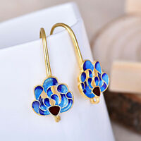New Chinese Vintage Cloisonne Blue Peacock Handmade Hooks Dangle Earrings