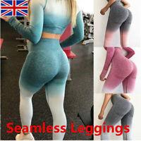 Women's Seamless Leggings Ombre Gym Sportswear Yoga Pants Running Fitness ~ UK