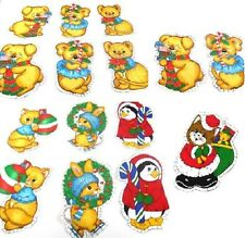 Spring Mills Vtg BABY ANIMALS Christmas Ornaments Cut Outs 5 Sgl & 5 Dbl Sided