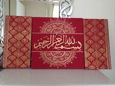 LARGE ISLAMIC CANVAS HANDPAINTED CALLIGRAPHY ARABIC ART  CRYSTALLISED ***NEW***
