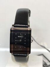 Watch Rado SwissMade Steel/Black Leather 1 1/8x0 11/16in WR 98 5/12ft Discounted