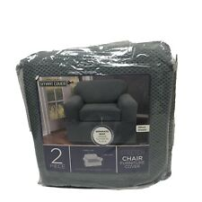 Maytex Stretch Pixel Chair 2 Piece Furniture / Slipcover Steel Blue New Open
