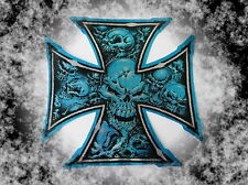 Aufkleber,Decals,Iron Cross,Eiserne Kreuz Metallic,Auto,Bike,Helm,Blau