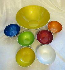 Vintage Emalox Norway enamel large salad bowl w/ 6 smaller bowls assorted colors