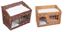 Wicker Basket Cat Den 2 Tier Pet House Home Bed Double Cushions Brown Beige